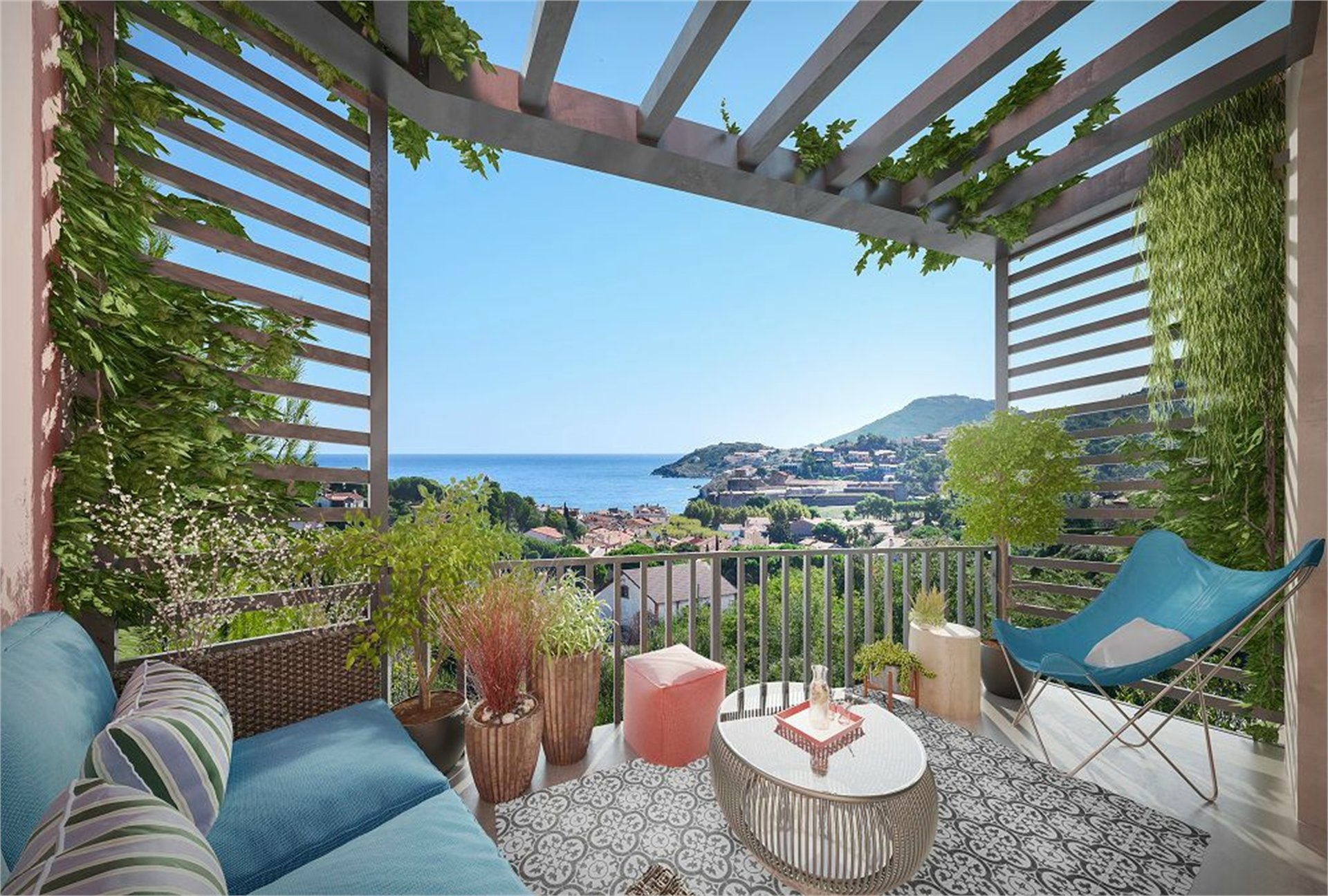 NEW BUILT COMPLEX - FLATS WITH SEA VIEWS - TERRACE, COLLIOURE